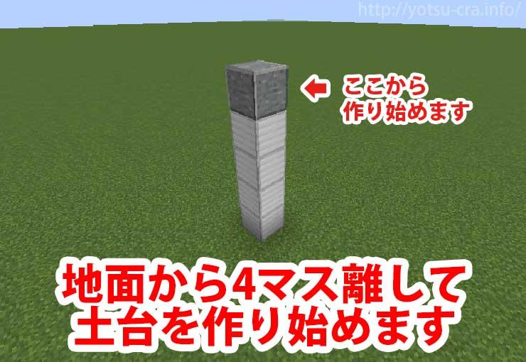 地面から4マス離して土台を作ります