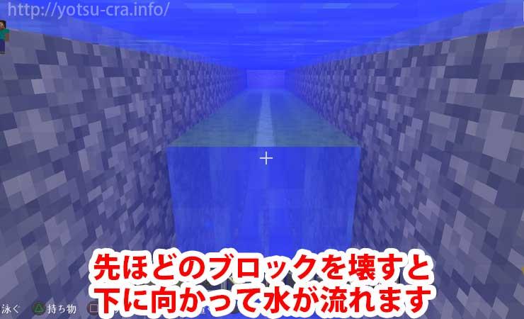 ブロックを壊すと下に向かって水流ができます