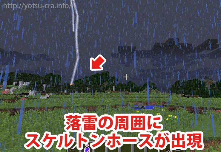 落雷の周囲にスケルトンホースが出現