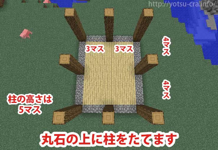 丸石の間に柱をたてます