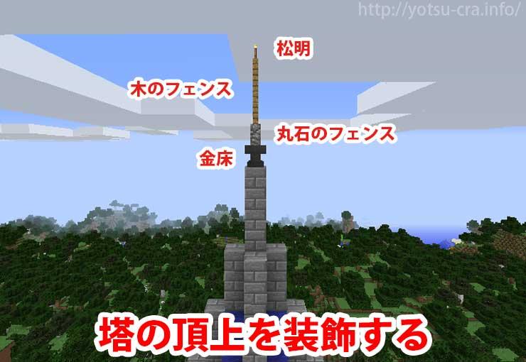 塔の頂上を装飾する